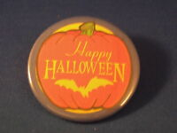 HAPPY HALLOWEEN Lot of 12 BUTTONS bat pumpkin pins BIG!  pinback  trick or treat