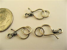 3 Bali Sterling Silver Wrapped Wire Hook Clasps 14mm