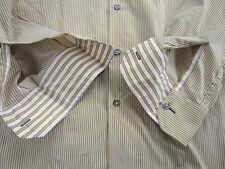 "Paul Smith Camicia Aderente ""LONDON"" RIGHE Giallo E Bianco Polsino Singolo"