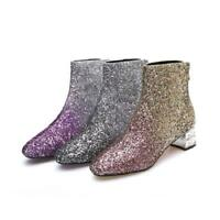 Womens Block Rhinestone Heels Bling Sequins Ankle Boots Evening Shoes Back Zip
