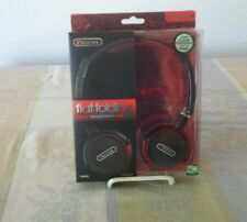 Sentry Industries HM434 Flat Folding Stereo Headphones with Mic, Red (NEW)