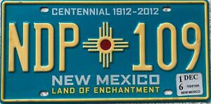 New Mexico Centennial American Licence License USA  Number Plate Tag NDP 109
