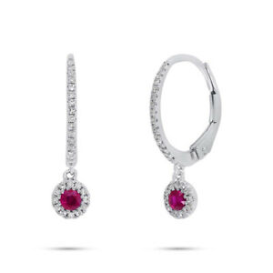 0.35 TCW 14k White Gold Natural Round Red Ruby Diamond Dangle Drop Earrings