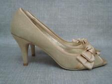 BERTIE UK 5 GOLD SUEDE PEEP TOE COURT SHOES