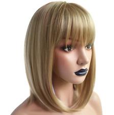 16'' Perruque Femme Blonde Courte BOB Droite Naturelle en Synthétique FR