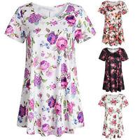 Sumemr Women Ladies Short Sleeve Flowers T-Shirt Casual O-Neck Tops Tee Blouse