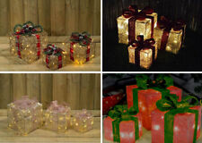 3 x  LED Battery Powered Light Up Glitter Sparkle Christmas Present Boxes Parcel