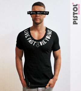 Pistol Boutique Men's Fitted Black Scoop Neck LIVE FAST DIE YOUNG T-shirt MEDIUM