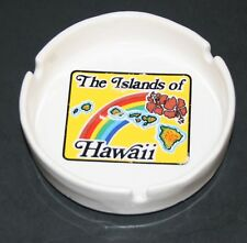 """Vintage Ceramic Ashtray """"The Islands of Hawaii"""" 4 1/4"""" wide 1"""" tall with rainbow"""