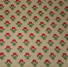 Vintage French Small Scale Provincial Floral Cotton Fabric ~ Red Green Yellow