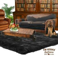 Black Shag Faux Fur Area Rug, Rectangle, Faux Sheepskin Carpet, Bonded Suede