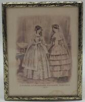 Antique 1851 Godey's Lady's Book Fashion Advertising Print Lithograph