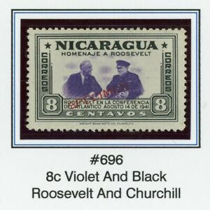 Nicaragua MNG FDR SPECIMEN Specialized: Scott #696 8c Thin Font $$$