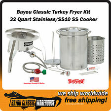 All Stainless Steel Complete Turkey Fryer Kit with 32 Quart Pot and SS10 Cooker