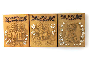 Vintage Miniature Love, Joy And Happiness Ceramic Plaques