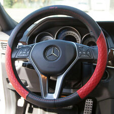 Fit Nissan Kia Jeep Real Leather Steering Wheel Cover Overlay Black Red It58011