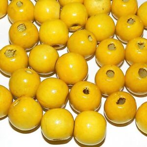 WL650 Yellow 18mm Semi- Round Wood Beads 4oz Package (70pcs)