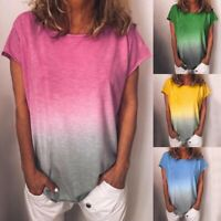 Plus Size Women Gradient Short Sleeve T-Shirt Casual Summer Loose Tops Blouse UK