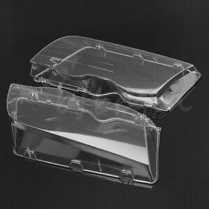 Set Headlight Lens Headlamp Glass Lamp Cover Clear 4 Doors For BMW E46 1998-2001