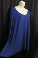 Soft Surroundings Stretchy Blue Tunic Top Knit Viscose A-Line L Large