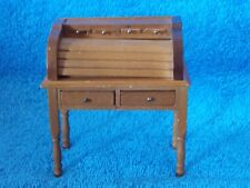 Miniature Doll House Wood Roll Top Desk