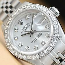 LADIES ROLEX SILVER DIAMOND DIAL & BEZEL DATEJUST 18K WHITE GOLD/SS WATCH