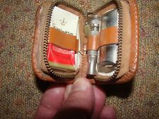 Vtg Gillette Mini Travel Razor Shaving Kit w/ Brown Leather Case Western Germany