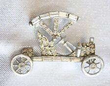 "Fabulous Pell Crystal Rhinestone Silver-tone Antique Car Brooch 1950s vintage 2"""