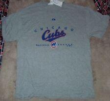 NEW MLB Chicago Cubs Baseball T Shirt Men L Large Grey Gray Majestic NEW NWT