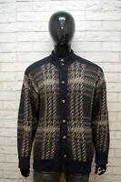PAUL & SHARK Maglione Uomo Pullover Quadri Taglia 2XL Sweater Cardigan Lana Man