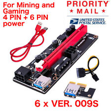 Pack 6 x VER009s 1x to 16x PCI Express Riser Card PCIE Extender Cable For Mining