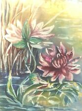 """WATER LILIES,Original WaterColor Painting Artist Signed Gold Wood Frame 30""""x38"""""""