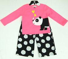 CARTER'S FILLE 2 Pce Panda Pyjamas Set Rose, top, Noir Polaire Pantalon 6 ans