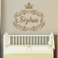 Frame Personalized Girl Name Wall Decal Princess Crown Girls Nursery Decor F41