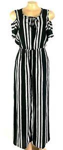Fashion Women Ladies Stripe Open Shoulder Short Sleeve Jumpsuits Rompers