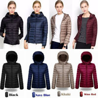 Womens Hooded Ultralight Down Jacket Puffer Bubble Coat Packable Light Packable