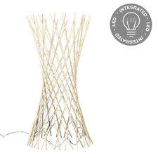 MiniSun Lattice Twisted Wood Floor 110cm Lamp With 80 White LEDs - Cream