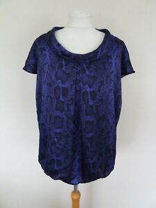 M&S Limited Maternity Purple Black Snakeskin Animal Print Silky Top Size 16 BNWT