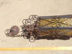 Vtg Large Wrought Iron Spanish Medieval Gothic Hanging Swag Lamp  glass yellow