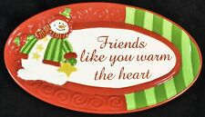 Fitz And Floyd Christmas Candy Dish Plate Holiday Folk Friends Like You Snowman