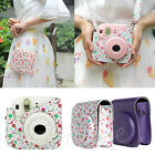 Flower Leather Camera Case Bag Protector Fr Fujifilm Polaroid Instax Mini8 White