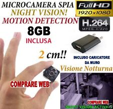 MICROSPIA SQ8 Camera Spia FULL HD MOTION DETECTION TELECAMERA NASCOSTA + SD 8GB