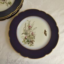 Haviland French Limoges Cobalt Blue Butterfly Cabinet Plates set of 4