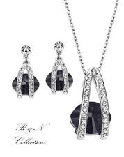Platinum Plated Black Style Necklace Earrings Set Made With SWAROVSKI CRYSTALS