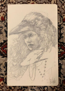 Original Drawing By Artist Craww Pencil Crow Girl Bird Art Woman OG