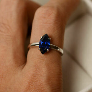 Oval Cut 3.55 Ct Blue Sapphire Solitaire Promise Ring 14K White Gold Over
