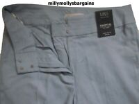 New Womens Marks & Spencer Blue Linen Straight Trousers Size 12 Short DEFECT