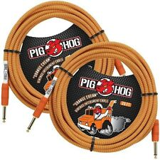 2-PACK PIG HOG ORANGE CREAM 20 FOOT GUITAR INSTRUMENT BASS PATCH CABLE 1/4 CORD
