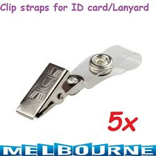5x Metal Badge Clips Clear Vinyl Straps snaps for ID Card Badge Holders Lanyard