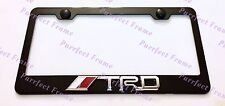 TRD 3D Emblem Toyota Black Stainless Steel License Plate Frame Rust Free W Cap